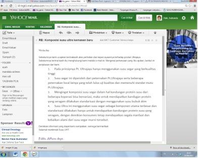 email balasan CS Ultrajaya :)